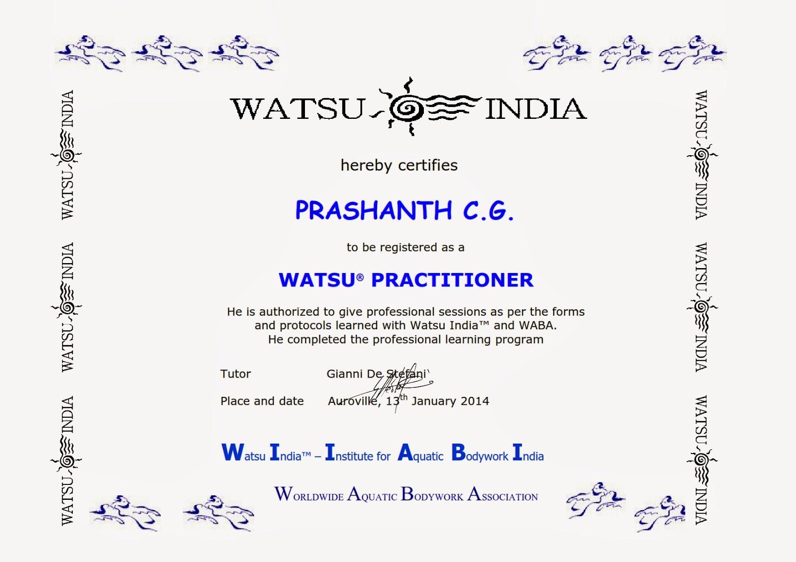 india watsu certificate aquatic therapy