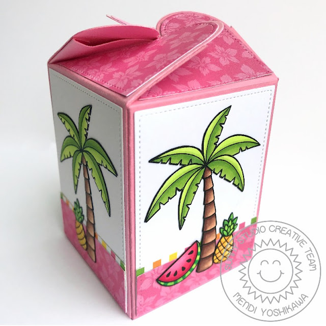 Sunny Studio Stamps: Fabulous Flamingos Gift Box (using Wrap Around Box Dies)