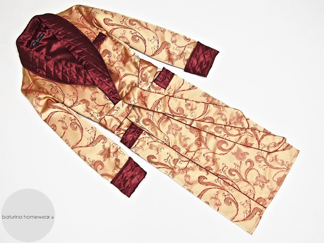Mens luxury paisley silk dressing gown quilted collar robe gold red vintage housecoat