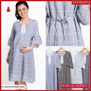 MOM126D17 Dress Hamil Menyusui Modis Tartan Dresshamil Ibu Hamil
