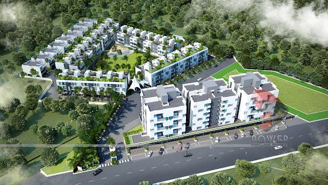 3D Modern Township Rendering