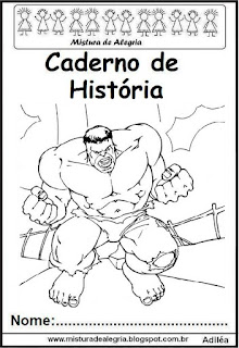 Capa para caderno história Hulk