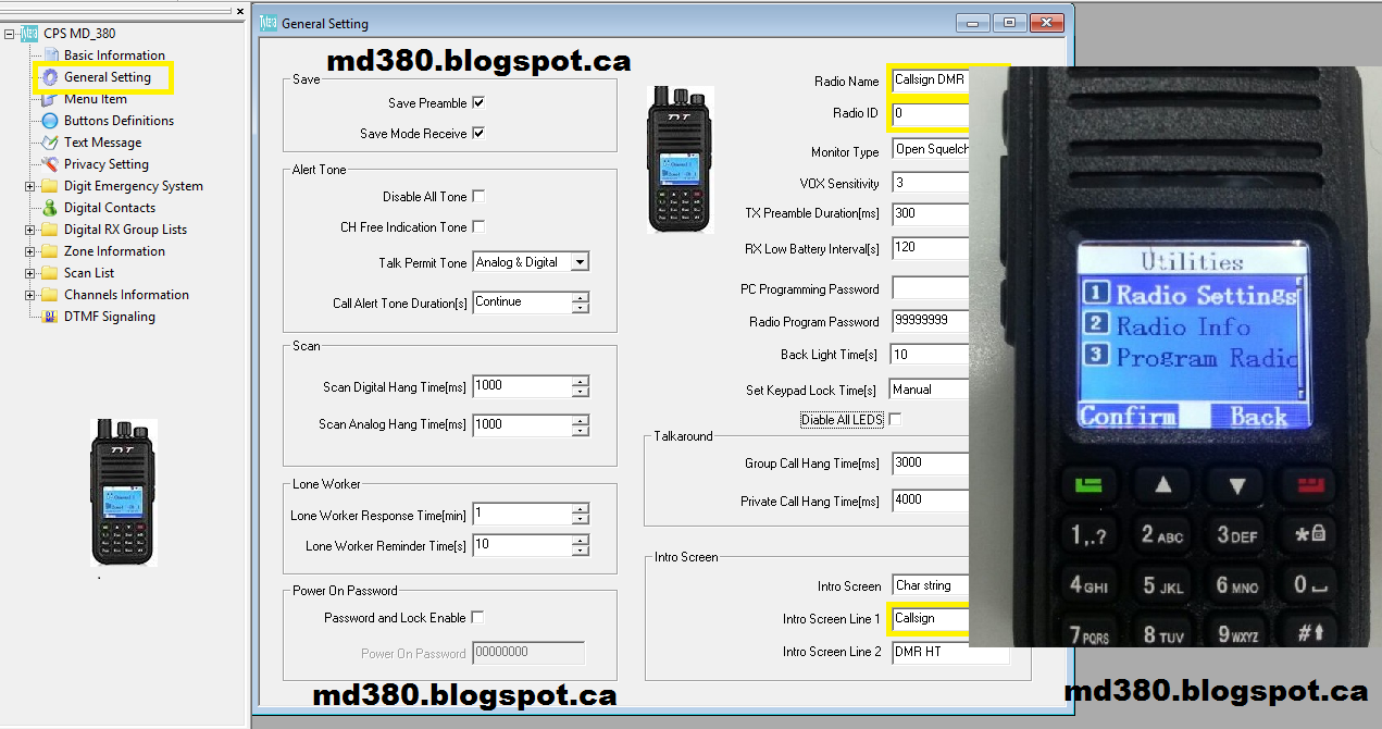 TYT MD-380 DMR: Tytera (TYT) MD380 CodePlug Editor