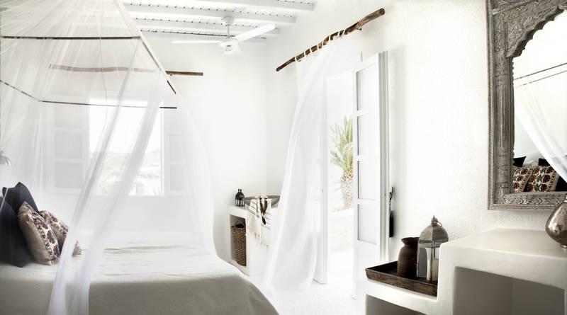 Hotel San Giorgio, Mykonos - Decoración Boho Chic Mediterraneo, Madera, Blanco