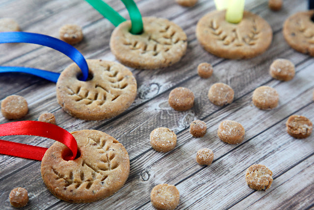 Homemade dog treats shaped like gold medals