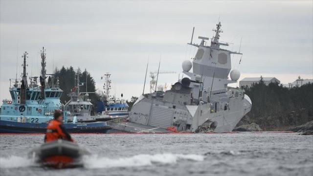Se hunde fragata noruega de OTAN tras chocar con un petrolero