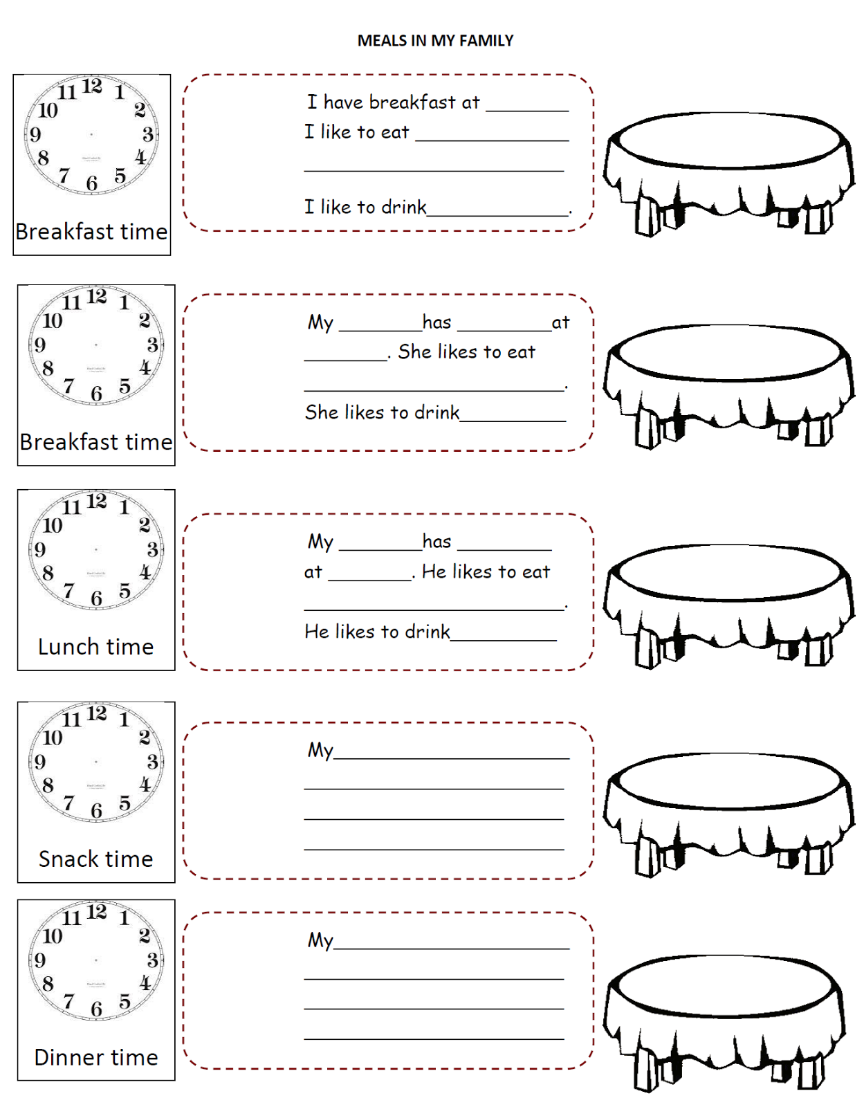 English Fourth Graders Zone Meals Time Worksheet