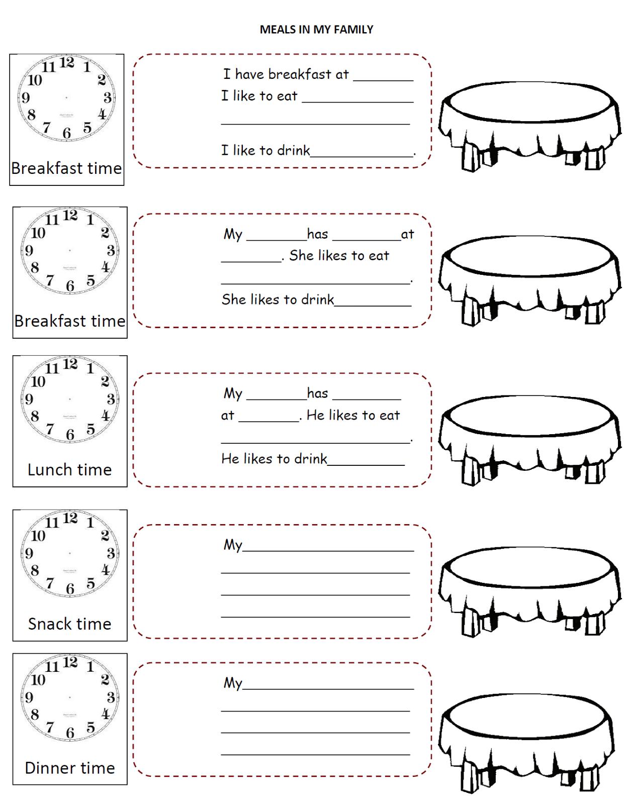 english fourth graders zone meals time worksheet. Black Bedroom Furniture Sets. Home Design Ideas