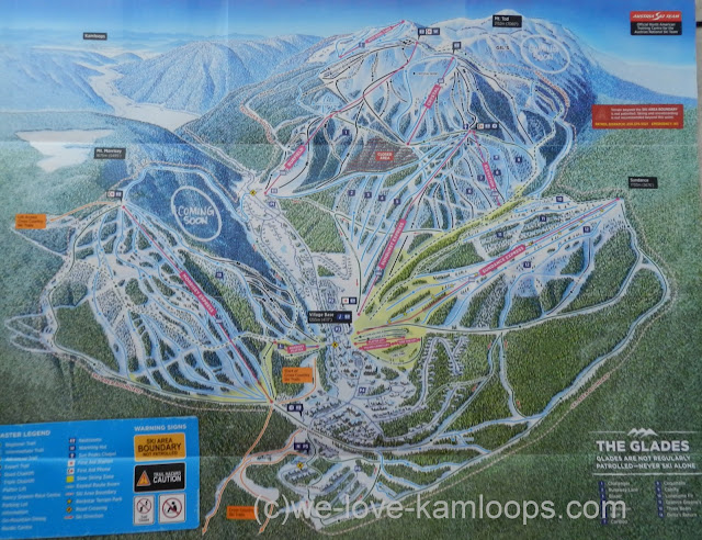 the map shows all the ski runs and the village at Sun Peaks