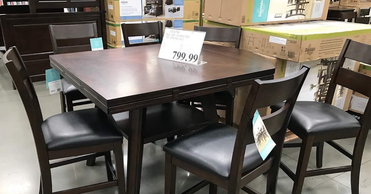 Bayside Furnishings 7 Piece Square To Round Dining Set Costco Weekender