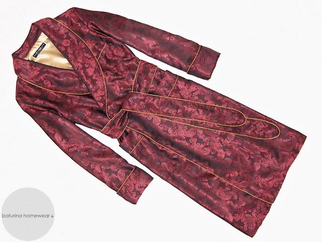 eleganter herren luxus morgenmantel paisley seide rot edel exklusiver englischer hausmantel lang gefüttert dunkelrot