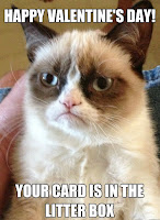 GRUMPY CAT meme Happy Valentines Day Your Card is in Litter Box