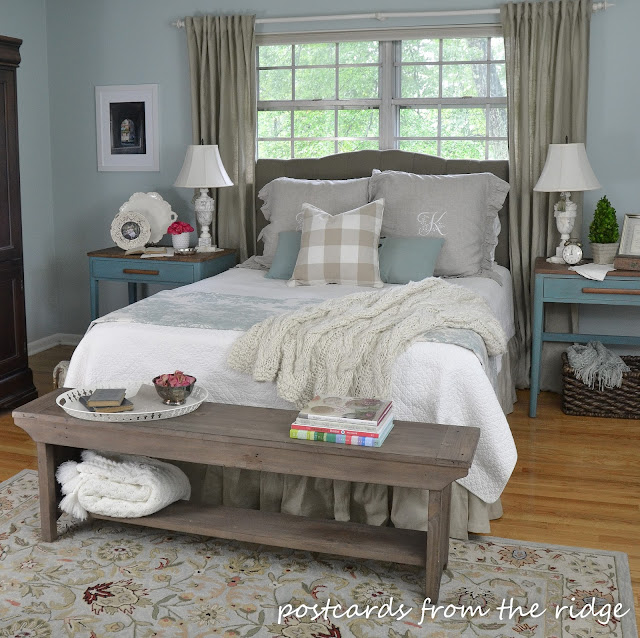Bedroom ideas - farmhouse style bedroom decor. So cozy! Postcards from the Ridge
