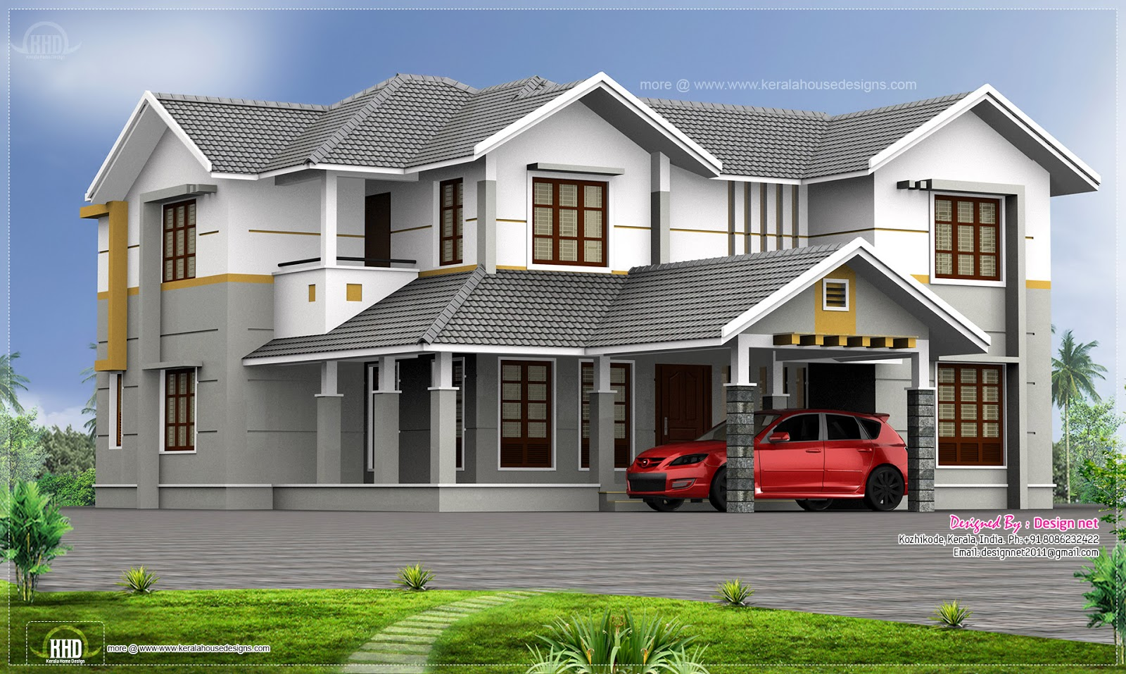 Front Car Porch Elevation : Vastu based home with double height living room kerala