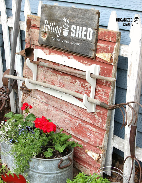 Potting Shed Stencil Sign on Barnwood