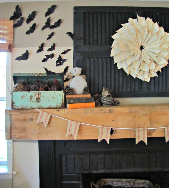 Batty Rustic Fall Mantel