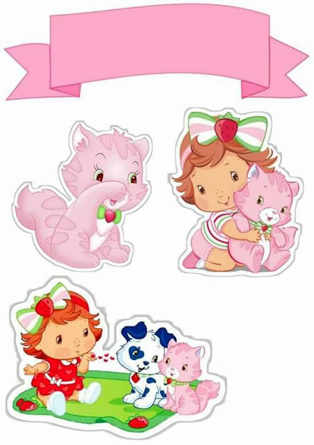 Strawberry Shortcake Baby: Free Printable Cake Toppers.