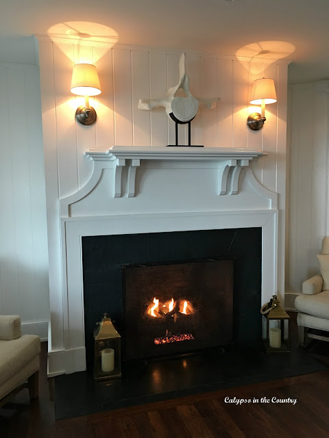 Fireplace at the Harborview Hotel in Edgartown