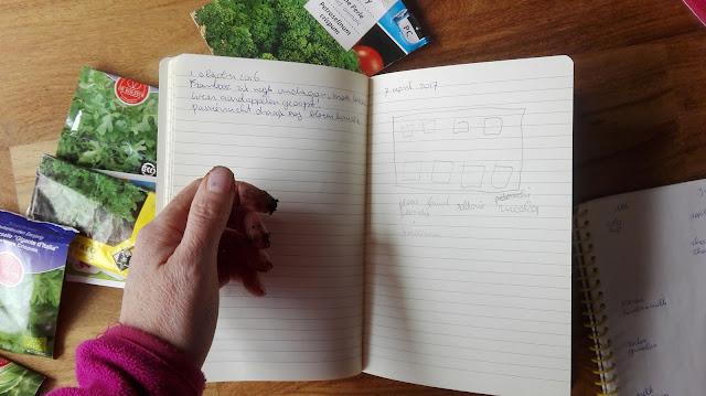 Boekje met aantekeningen en plattegrond van kruidenmoestuin.