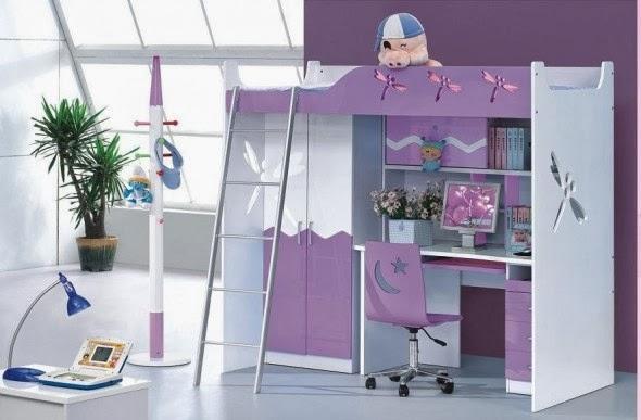Dormitorio para niñas y adolescentes color lila - Dormitorios ...