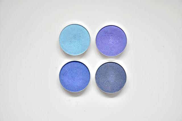 beztalkowe cienie glamshadows - h2o, chaber, królewski niebieski, sztorm