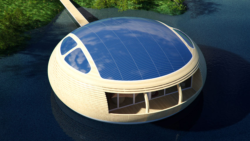 Water Nest 100 An Eco-Friendly, Solar-Powered Home Made With Near 100% Recycled Materials - Solar panels on the roof can generate 4 kWp.