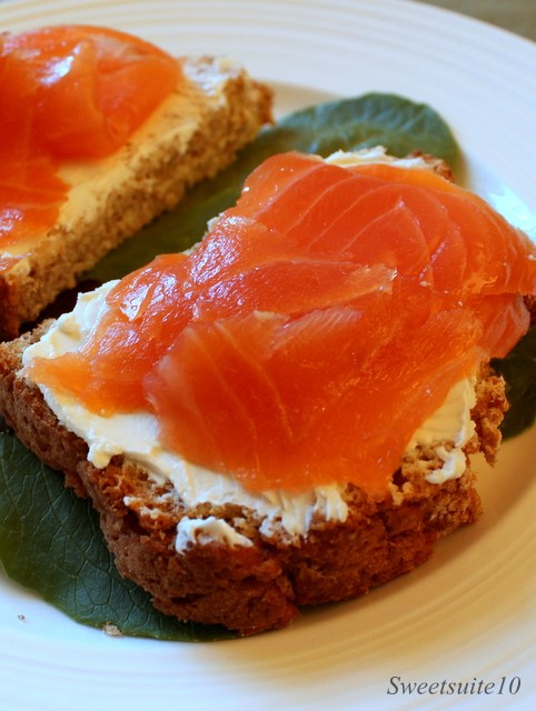 Irish Brown Bread with cream cheese and lox