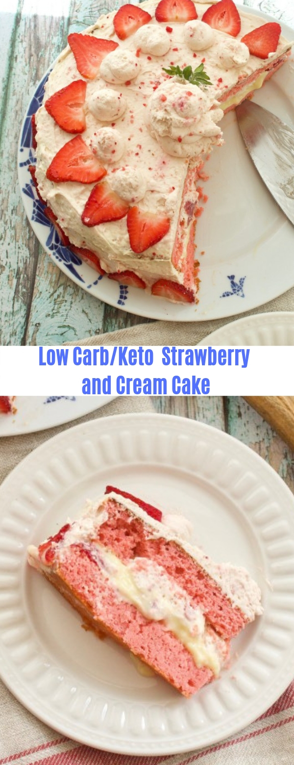 Low Carb Strawberry and Cream Cake