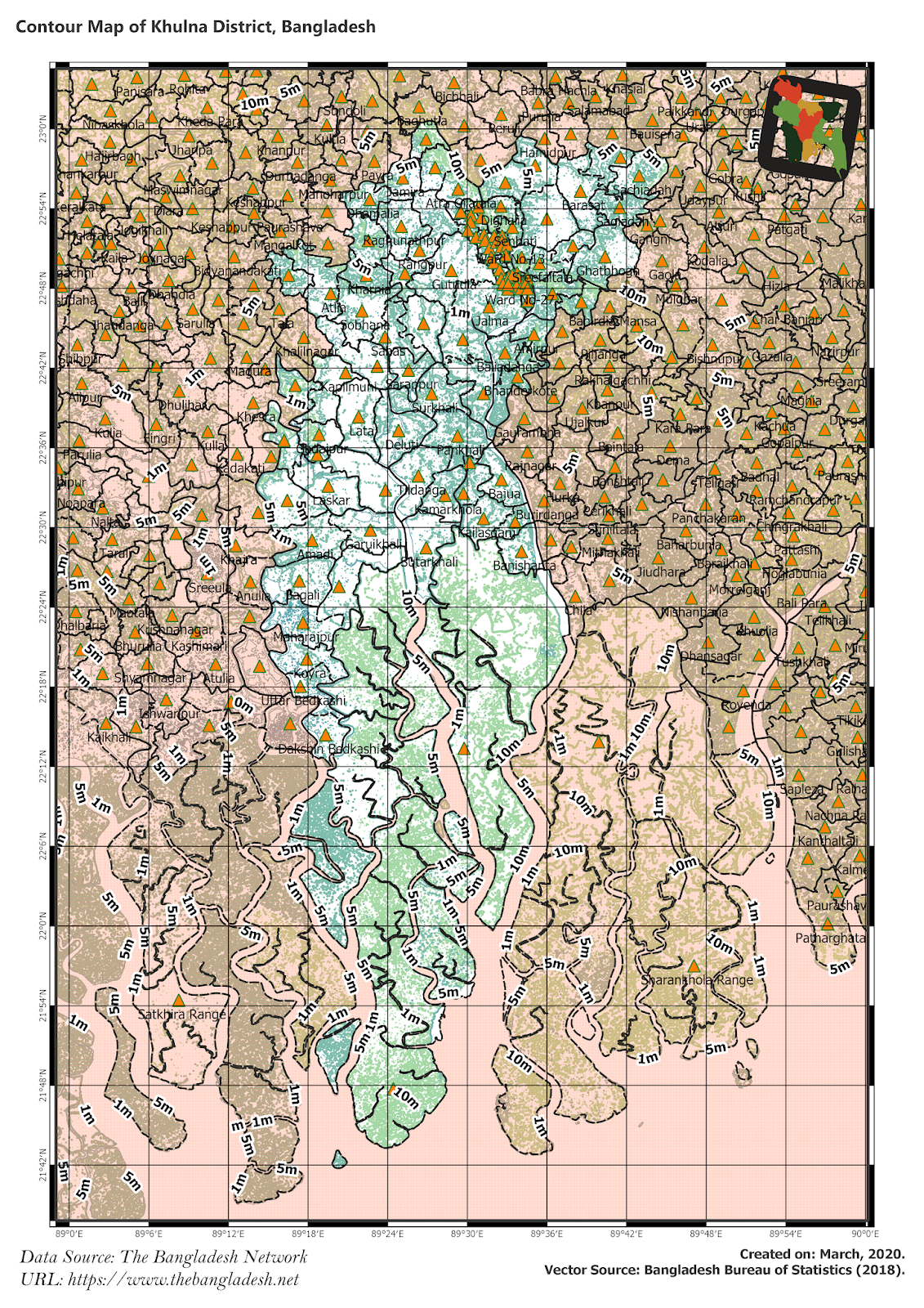 Elevation Map of Khulna District of Bangladesh