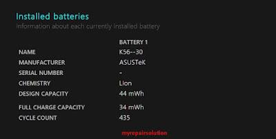 informasi baterai yang terpasang
