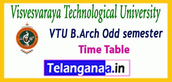 VTU Visvesvaraya Technological University B.Arch  1st 3rd 5th 7th semester Time Table  Admit-Card