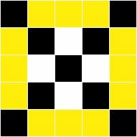 Ilustração com as cores preto, branco e amarelo