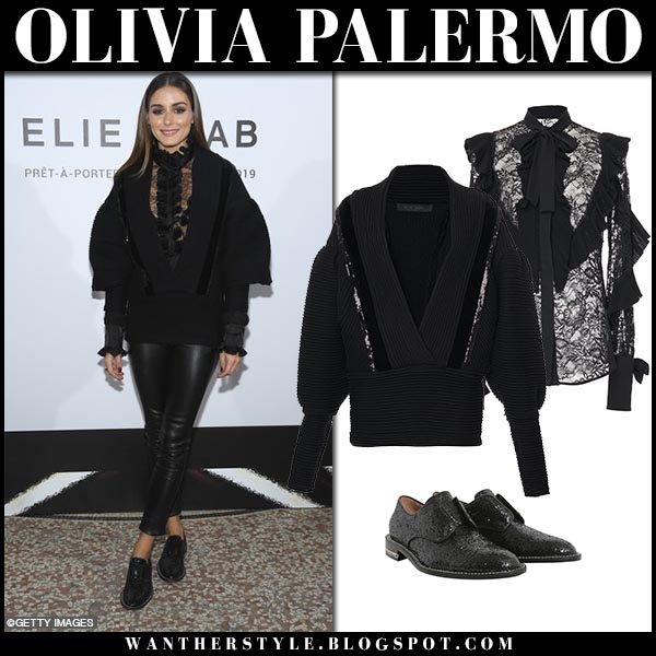 Olivia Palermo in black lace shirt, black sweater elie saab and black leather pants fashion week style september 29