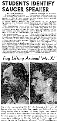 Silas Newton Identified As Mysterious 'Dr X,' Flying Saucer Lecturer at Denver University - Denver Post 3-17-1950