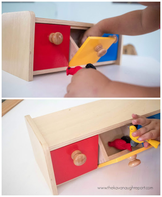 Montessori box with bins - how we use this fun toddler material