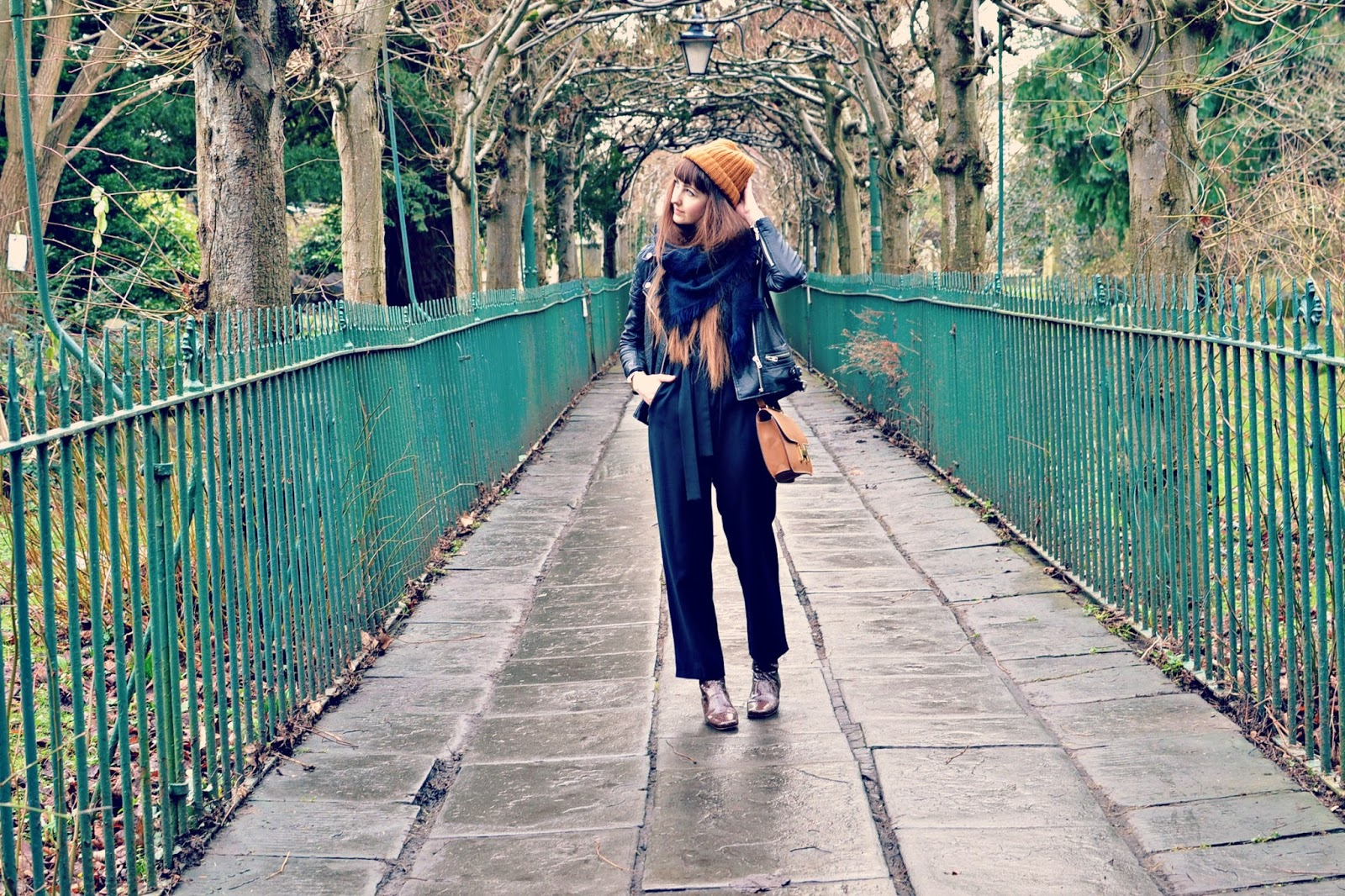 topshop boutique jumpsuit, finery boots, monki hat, hermes bag, fashion blogger, urban outfitters leather jacket