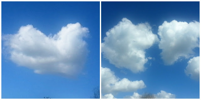 A whole cloud heart next to a broken one.