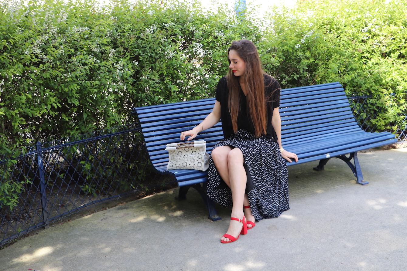 jupe longue plissée à pois