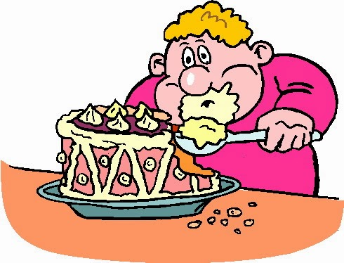 Eating Habits: Lady eating too much food in clipart