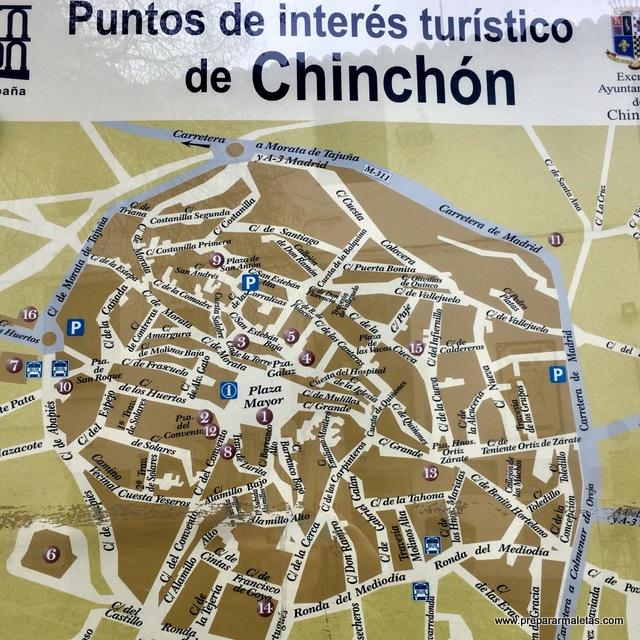 mapa puntos de interés turístico de Chinchón