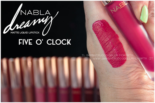five o' clock  Dreamy Matte Liquid Lipstick rossetto liquido nabla cosmetics swatches