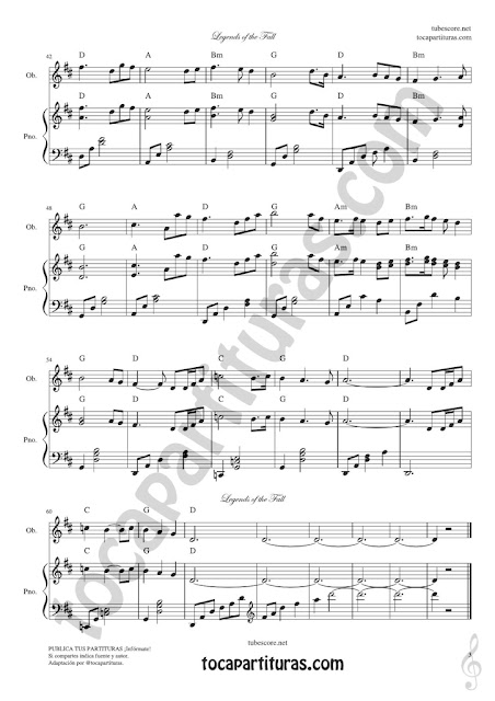 3 Leyendas de Pasión Partitura de Oboe Legends of the Fall Sheet Music for Oboist