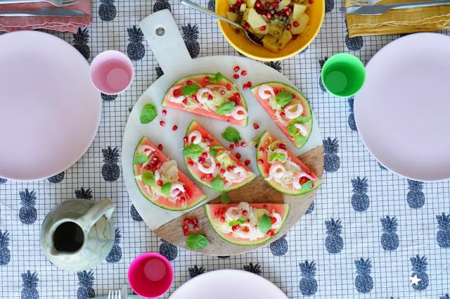 toast pastèque crevette grenade salade pommes de terre sans gluten estival