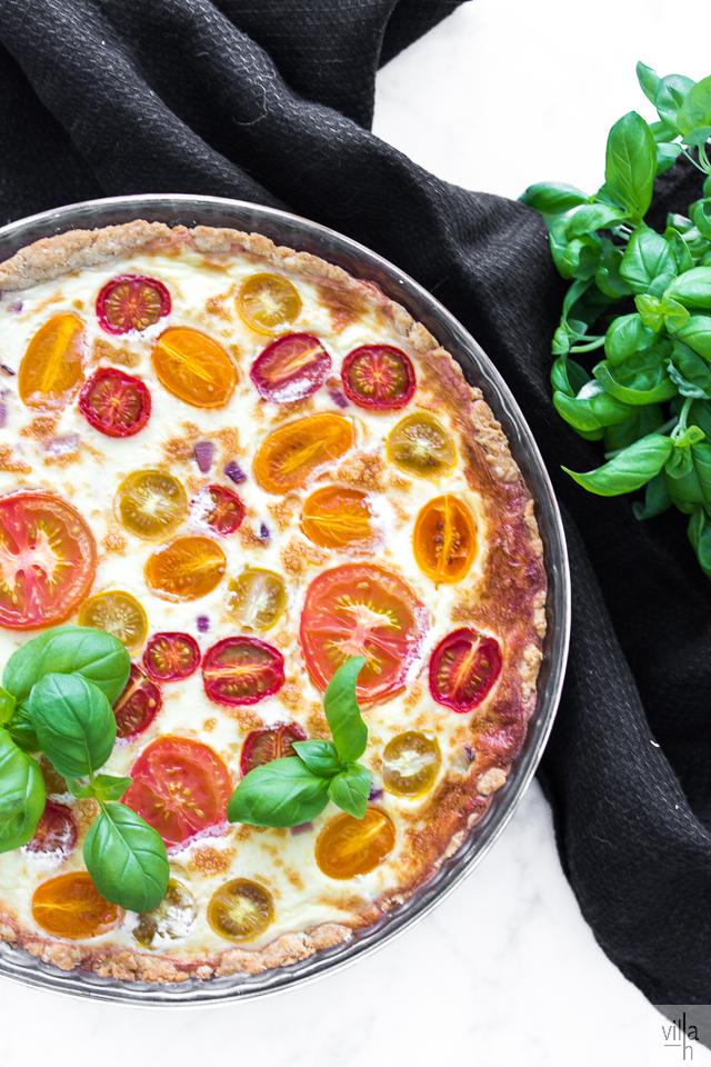 tomaattipiirakka, leivonta