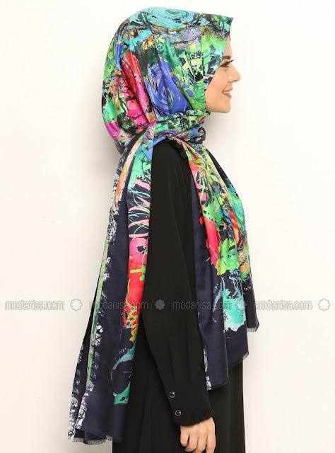 chất liệu vải Printed Twill Silk Shawl - Navy Blue - Akel