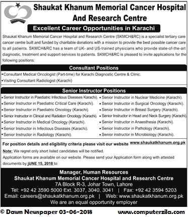 Excellent Career Opportunities in Karachi at Shaukat Khanum Memorial Hospital and Research Center