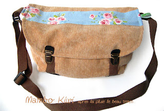 sac cartable velours beige fait main