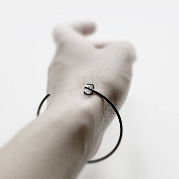 Eye - herkimer diamond oxidized cuff | MIRTA Jewelry