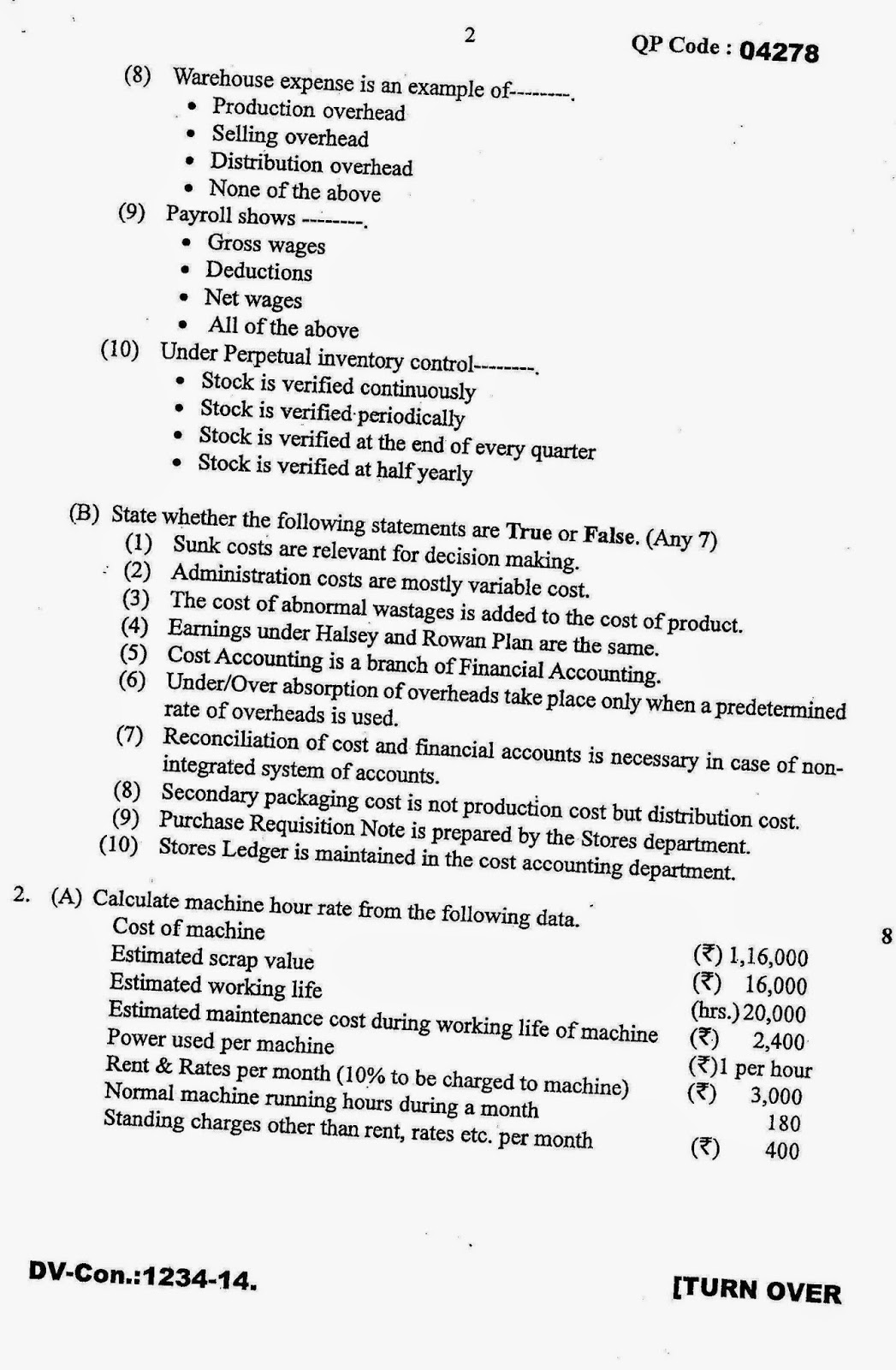 Question Papers Collection: T Y B COM SEMESTER-V, November 2014