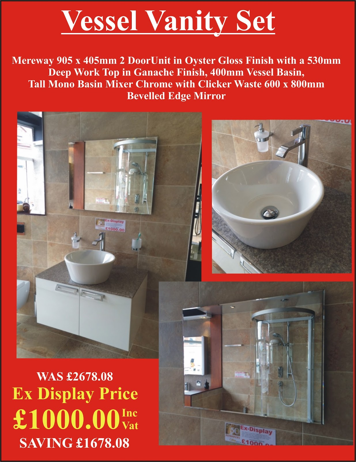 Ex display bathrooms at harry bates vessel vanity set for Bathroom vanity display for sale